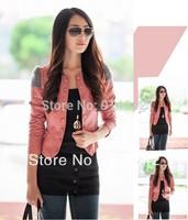 Hot sale!!! 2015 New Fashion Womens Korea Slim PU Jacket Ladies leather Jacket Coat Fur Clothing Free Shipping ,005