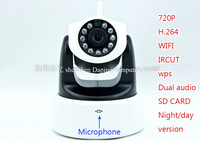 100% Hot Sales Wireless Wifi Web IP Camera 1280*720P Camera H.264 Format IR Cut SD card Slot