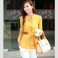women blouse new 2014 blusas femininas long sleeve chiffon  blouses & shirts tops for women