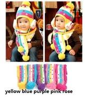 Winter baby cap models cartoon rabbit children baby wool the rainbow hat + rainbow scarf Set Free shipping JHB-278