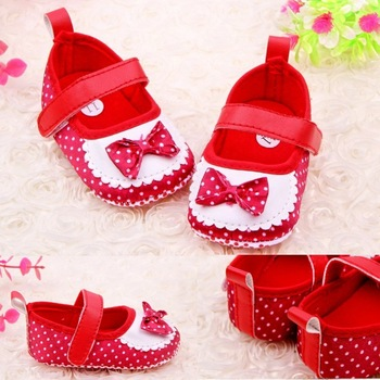 New arrived 2013 spring autumn lovely dot bowknot baby toddler shoes children's footwear casual shoes size 11cm 12cm 13cm
