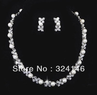 Free shipping luxurious pearl bridal jewelry sets hotsale cheap jewelry wedding accessory