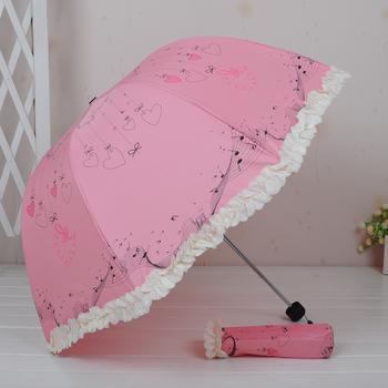 Love pattern laciness  dual  folding rain umbrella sun-shading women's  umbrella Free shipping !!!