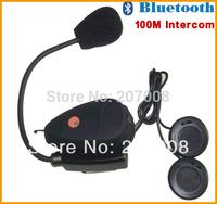 New Style Hottest ! Free Shipping BT Motorcycle Helmet Bluetooth Interphone V1 MP3/ FM Radio,100m Intercom Headset 2pcs/lot