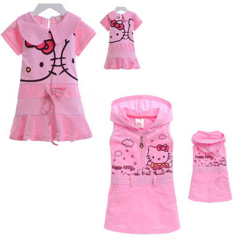 In Stock Best Quality Pretty Price New Arrivals Free Shipping Girl's summer clothing 100% cotton cute cartoon HELLO KITTY skirt