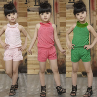 New Fashion rhinestone clothing Baby Girl Summer Set kids Vest+bow shorts suit girl casual set children summer suit 2-7y girl