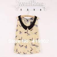 Fashion Womens Ladies Girls Bird Pattern Printed Chiffon Sleeveless Tank Top Blouse Shirt Doll Collar Size S M L