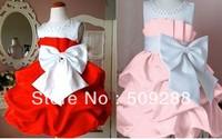 free shipping,NEW Korea  children dress girls High-grade Princess dress chiffon Big bowknot dresse for summer red pink