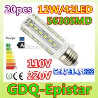 Free shipping 20x 12W 42LED 5630 SMD E27 E14 B22 Corn Bulb Light Maize Lamp LED Light Bulb Lamp LED Lighting Warm/Cool White
