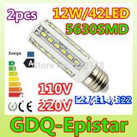 Free shipping 2x 12W 42LED 5630 SMD E27 E14 B22 Corn Bulb Light Maize Lamp LED Light Bulb Lamp LED Lighting Warm/Cool White