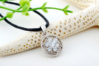 Certified 100% Solid Sterling silver 925 necklaces & pendants  7-CZ Round Vintage Pendant w/ 18'' Sterling Chain