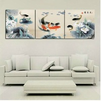 Free shipping Hand Painted Art Set canvas Wall Picture Home Decoration Oil Painting on canvas 3pcs/set Framed  nice fish
