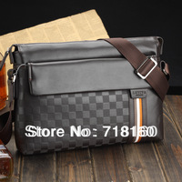 2013 Hot Fashion genuine leather bags black and brown men's business briefcase shoulder bag messenger bags free shipping