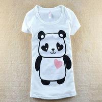 21 Colors New Korean Style Women Summer Catoon Panda Printed Slim 100% Cotton Holiday T-Shirts free shipping LJ330