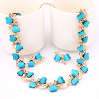 New Arrival 2014 Gold Plated Jewelry Necklace Earrings Wedding Dress Accessories  Classic Costume Jewelry Sets