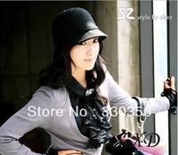 Temperament cap bow decoration wool small ladies equestrian cap sagging wool cap