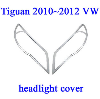 Hight quality !! Tiguan 2010 2011 VW Volkswagen High ABS CHROME Headlight Head Light Lamp Cover TRIM 2PCS  FREE SHIPPING HK Post