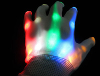 Quality 2pcs (1pair) 7 Modes Color Changing led gloves rainbow light emitting gloves Halloween gloves Free Shipping