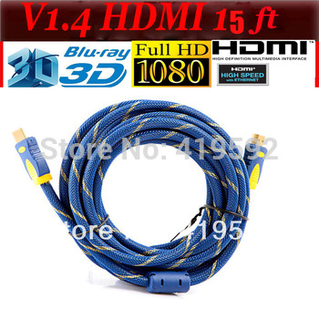 Free shipping 1pcs/lot 15ft 5M High speed HDMI cable 1.4V Male to male Supports 3D&blue ray already with mesh&filters