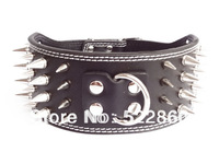 Free Shipping NEW 3'' Wide Leather Spiked Dog Collars Large Dog Pit bull Dogs Terrier Collars 4 Color 3 Size