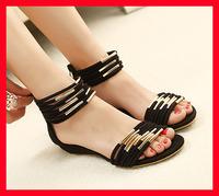 2014 new Summer arrival women sandal fashion vintage Metal sweet gladiator women shoes zipper open toe flat heel Lady sandals