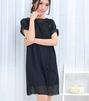 Free shipping new spring 2014 college style the black  Ruffle chiffon dress with flowers one piece dresses for women whole sale