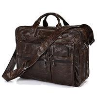 """100% Genuine Vintage Leather Men's Briefcase Messenger Travel Laptop Bag 15.5""""L"""