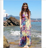 Big love oil painting summer dress 2013 summer beach dress thin Bohemia  bra printing long dress free shipping sadonglei