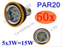 50Pcs/lot Par20 Led Lamp E27 Dimmable 5X3W 15W Spotlight Led Light Led Bulbs 85V-265V Energy Saving Free shipping