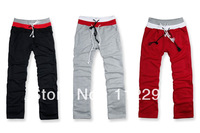 MENS CLASSIC STRAIGHT FLEECE SWEATPANTS  white /grey/wine red/white SIZE S M L 10/LOT