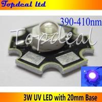 3W UV LED ultra voilet led  high power led lamp light  390-410nm with 20mm star heatsink free shipping 5pcs/lot