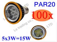 100Pcs/lot Par20 Led Lamp E27 Dimmable 5X3W 15W Spotlight Led Light Led Bulbs 85V-265V Energy Saving Free shipping