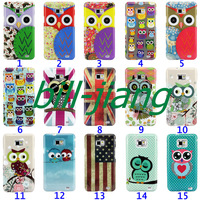 Cartoon Cute Owl Bird design Hard Back Cover Case for Samsung Galaxy S2 SII i9100 MOQ 1pcs/lot by china post