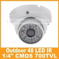 Vandalproof white CCTV camera, 1/4 CMOS 700TVL  IR Color 48LED  Security  Video dome Camera outdoor waterproof (IR Cut Optional)