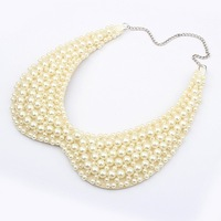 2014 Exclusive High quality 2 colors Fashion Elegant Multilayer imitation-pearl collar necklace Statement jewelry wholesale PT34