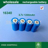 Free Shipping,100PCS/LOT Brand ultrafire 16340 3.7V Rechargeable Battery 1200mAh for LED Flashlight,Digital Camera,Laser pen.