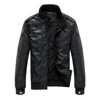 THOOO Brand Fashion  sexy top designed slim coat men pu leather short jacket casual FAUX LEATHER black