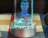 Wholesale! Souvenir 3D Laser Engraving LED Crystal Carving Cristiano Ronaldo Real Madrid