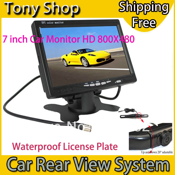 "Car License Plate Rear View Parking System with HD 800X480 7"" Monitor and Waterproof Reversing Backup Camera Good Night Vision(China (Mainland))"