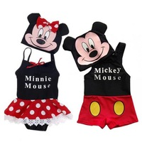 Hot sale micky mouse baby swimwear kids boys Trunks dress bathing suits beachwear cute minnie mouse girls child dress swimsuit