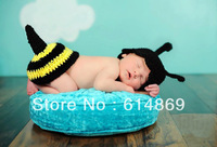 free shipping,Crochet Newborn Baby Cocoon Accessories ~ Bumble Bee hat and Tushie Cover sets