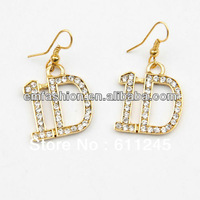 4 pair/lot,Free Shipment One Direction 1D Letters/Words Rhinestone earring