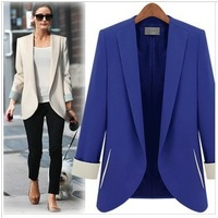 2013 New Hot sale Fashion Women Blazer Jacket Ladies OL Casual Suit Coat  Outerwear  Thick plus size  Free Shipping Wholesale