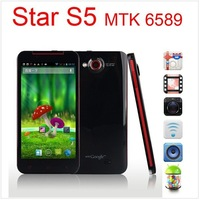 "SG freeshipping Star S5 phone MTK6589t Quad Core Android 4.2 1GB+8GB 2GB+32GB 5.0"" HD Screen 12MP Butterfly Smart Phone Russian"