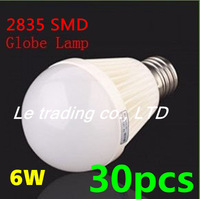 30pcs/log E27 6W 2835SMD AC85-265V Bubble Ball Bulb High power Energy Saving Ball LED Light Bulbs Lamp Lighting Free shipping