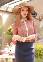 FREE SHIPPING! 2013 New Sweet Animal Print Long Sleeve Women's  Blouses Turn-Down Collar Chiffon Shirt,Super Deal,In Stock