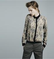 2013 Fashion Patchwork Chiffon Shirt Blouses Long Sleeve Floral Printed Blouse Plaid Satin Shirts for Women Loose Punk Shirt