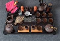 yixing purple grit tea sets with Solid wooden tea tray Chinese kung fu tea set clay teapot gaiwan teaboard