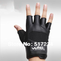 New 2014 Leather Fitness Gloves Half Finger Sports Gloves Bodybuilding Gym Gloves Multifunction Gloves 3 Size Free Shipping