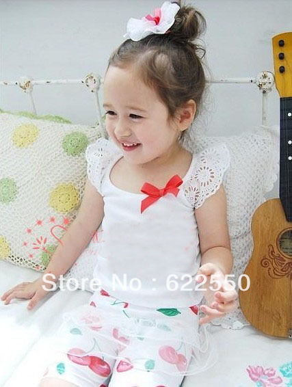 Free shipping Girl T Shirt Vest Red Bowknot Lace Singlet Sleeveless t-shirt Lace T Shirt Vest girl&#39;s summer wear(China (Mainland))